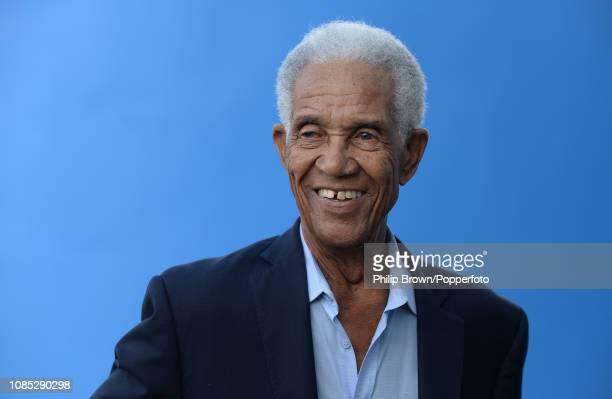 Sir Garfield Sobers laughs during a West Indies training session at Kensington Oval on January 19, 2019 in Bridgetown, Barbados.