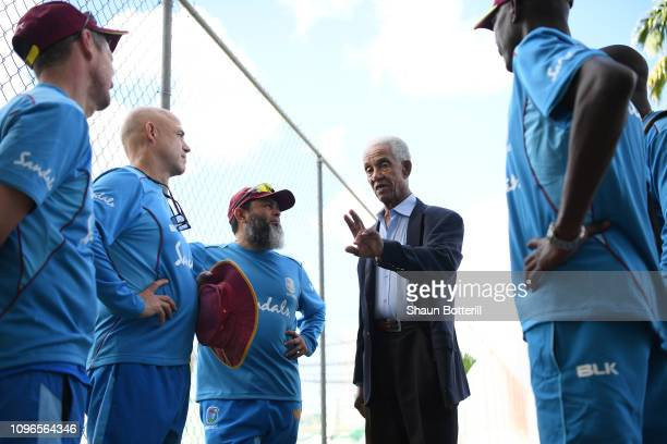 Sir Garfield Sobers talks West Indies Head Coach Richard Pybus with Spin Coach Mushtaq Ahmed during net practice at Kensington Oval on January 19,...