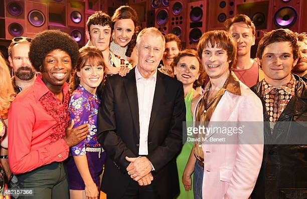 Sir Geoff Hurst poses onstage with cast members following a performance of 'Sunny Afternoon' at Harold Pinter Theatre on July 27 2015 in London...