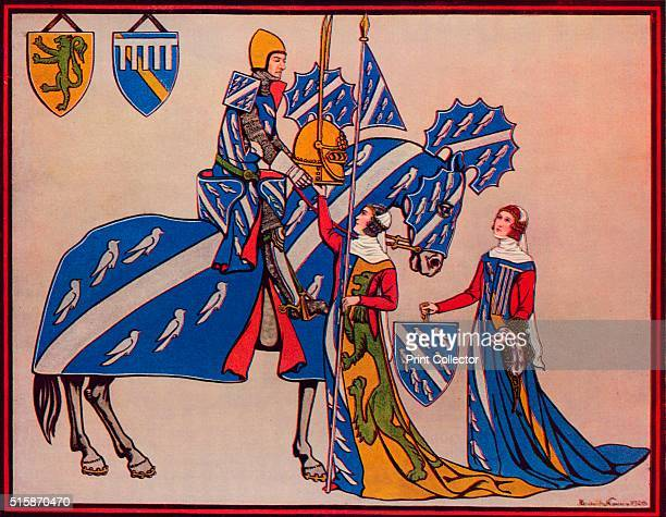 Sir Geoffrey Luttrell, His Wife and Daughter-In-Law', circa 1340', . Geoffrey Luttrell III lord of the manor of Irnham in Lincolnshire. After the...