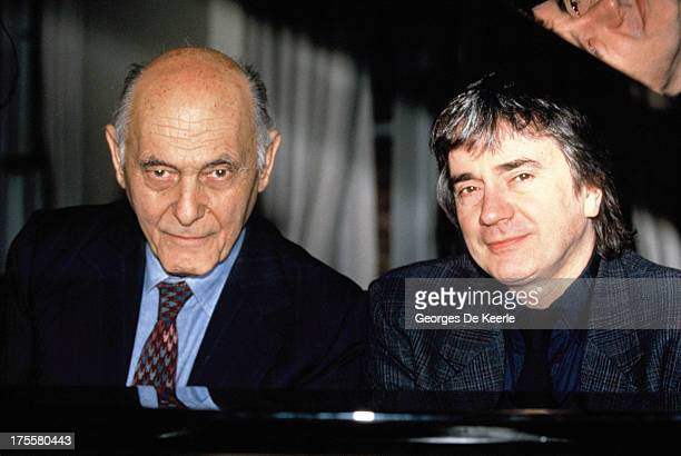 Sir Georg Solti and Dudley Moore at the piano on December 17, 1990 in London, England.