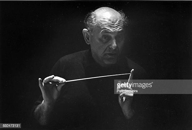 Sir Georg Solti conducting the Chicago Symphony Orchestra, Chicago, Illinois, 1970s.