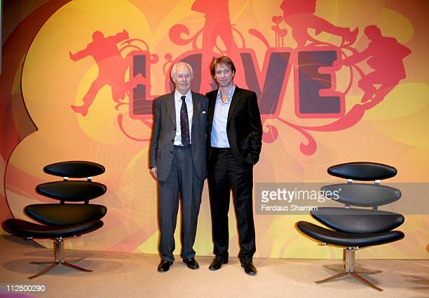 Sir George Martin and son Giles Martin during The Beatles 'LOVE' Album Photocall at Abbey Road in London Great Britain