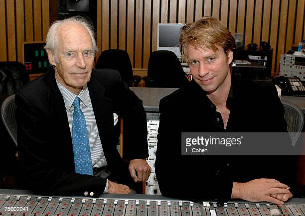 Sir George Martin and son Giles Martin producers of The Beatles' LOVE album at Capitol Studios