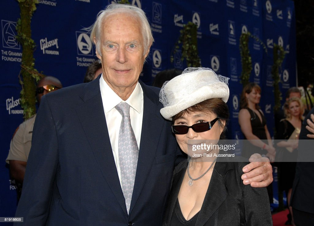 Sir George Martin and Yoko Ono arrive at the GRAMMY Foundation Starry Night held at the University of Southern California on July 12th, 2008 in Los Angeles, California.