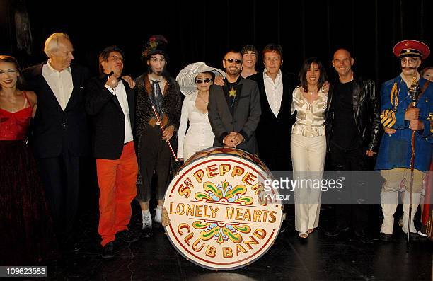 Sir George Martin director Dominic Champagne Yoko Ono Ringo Starr Sir Paul McCartney Olivia Harrison and Cirque du Soleil founder Guy Laliberte with...