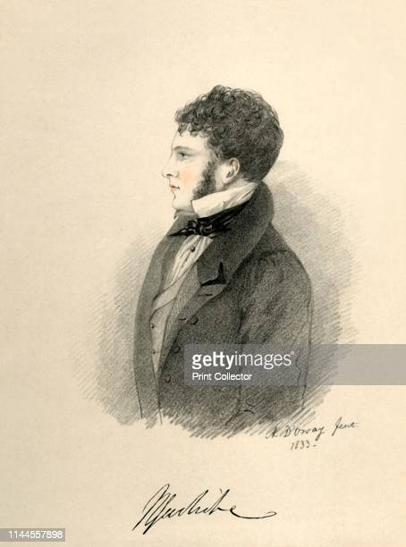 """Sir Harry Goodricke', 1833. Portrait of British aristocrat Sir Henry James Goodricke . From """"Portraits by Count D'Orsay"""", an album assembled by Lady..."""