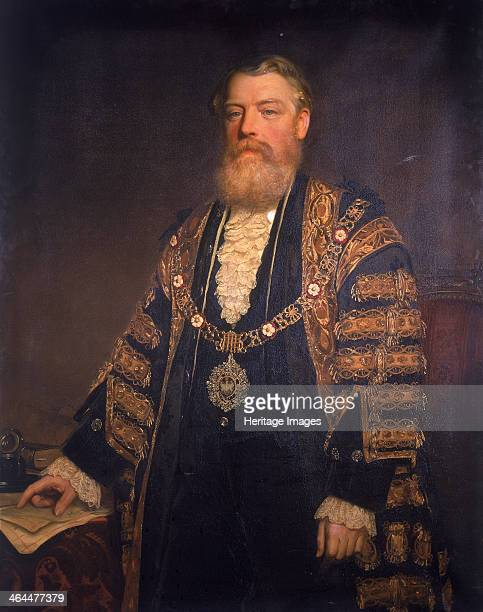Sir Henry Edmund Knight. 1883. Three quarter length portrait showing ceremonial robes. He points to some letters on the table.