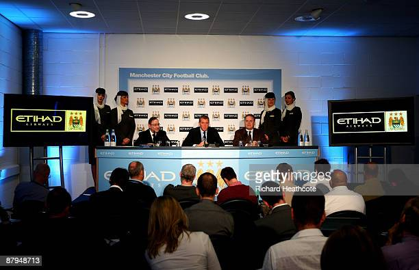 Sir Howard Bernstein Chief Executive of Manchester City Council Garry Cook Chief Executive of Manchester City FC and James Hogan Chief Executive of...