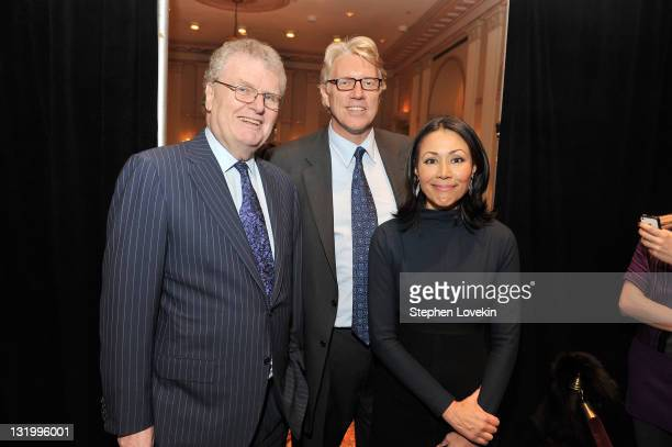 Sir Howard Stringer CEO of Sony Corporation Brian Ross and Ann Curry attend the International Rescue Committee's Annual Freedom Award benefit at the...