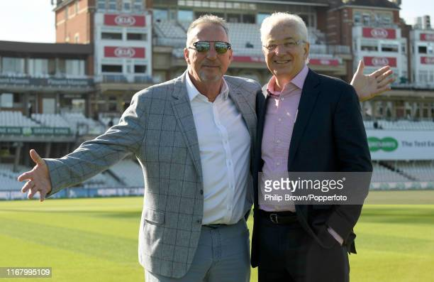 Sir Ian Botham and David Gower of Sky pose before the third day of the fifth Specsavers test match between England and Australia at the Kia Oval...