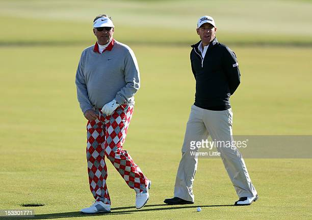 Sir Ian Botham and Shane Warne during the practice round of The Alfred Dunhill Links Championship at The Old Course on October 3, 2012 in St Andrews,...
