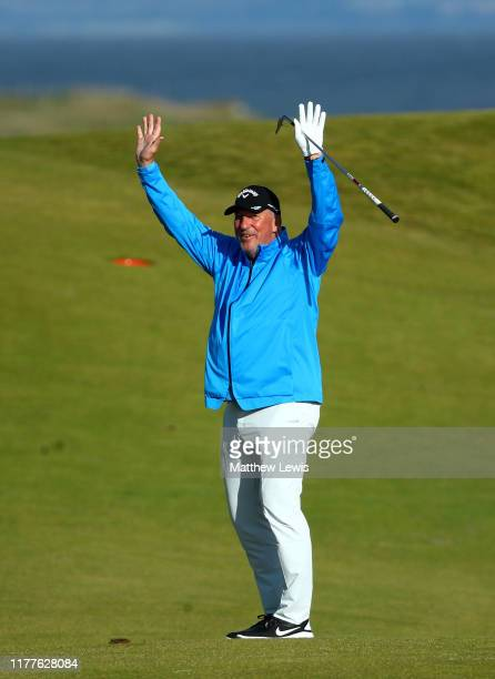 Sir Ian Botham celebrates on the 5th hole during Day three of the Alfred Dunhill Links Championship at Kingsbarns Golf Links on September 28, 2019 in...
