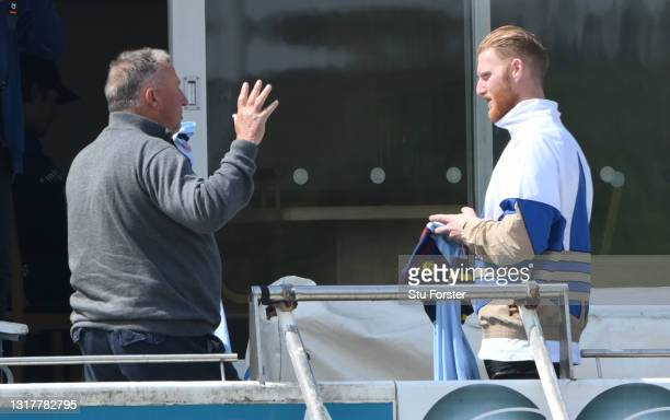 Sir Ian Botham chats with Ben Stokes during day one of the LV=Insurance County Championship match between Durham v Worcestershire at Emirates...