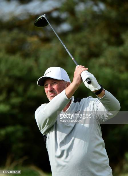 Sir Ian Botham tees off on the 14th hole during Day two of the Alfred Dunhill Links Championship at Carnoustie Golf Links on September 27, 2019 in St...
