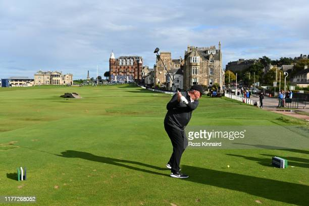 Sir Ian Botham tees off on the 18th hole during Day one of the Alfred Dunhill Links Championship at The Old Course on September 26, 2019 in St...