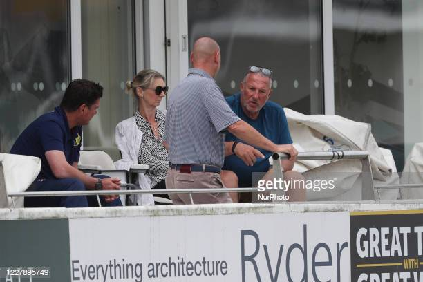 Sir Ian Botham the Chairman of Durham with his wife Kathy, Marcus North, the Durham Director of Cricket and James Whittaker during The Bob Willis...