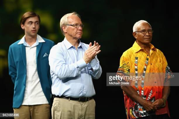 Sir Ian Dawanicura President Commonwealth Games Association Papua New Guinea and Peter Beattie Chairman Gold Coast 2018 Commonwealth Corporation look...