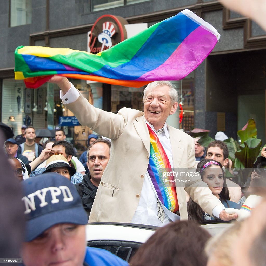 Sir Ian McCellan attends the 2015 New York City Pride march on June 28, 2015 in New York City.