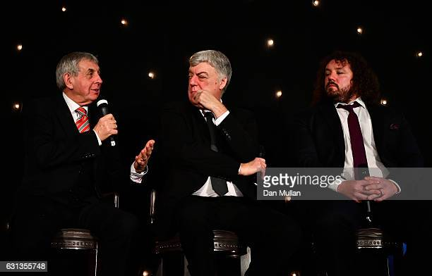 Sir Ian McGeechan Stephen Jones of the Times and Adam Jones of Wales and Harlequins take part in a QA during the Rugby Union Writers' Club Annual...