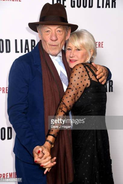 Sir Ian McKellan and Dame Helen Mirren attend The Good Liar World Premiere at BFI Southbank on October 28 2019 in London England