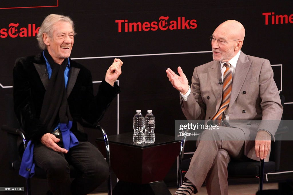 Sir Ian McKellan and Sir Patrick Stewart attend TimesTalks Presents: An Evening With Sir Patrick Stewart at Times Center on October 28, 2013 in New York City.