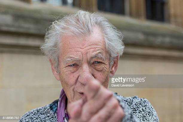 Sir Ian McKellen actor photographed at the FT Weekend Oxford Literary Festival on April 3 2016 in Oxford England