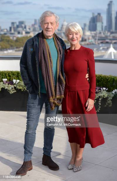 Sir Ian McKellen and Dame Helen Mirren attend The Good Liar photocall at The Corinthia Hotel on October 30 2019 in London England The Good Liar...