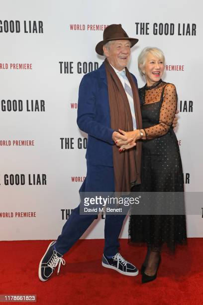 Sir Ian McKellen and Dame Helen Mirren attend the World Premiere of The Good Liar at the BFI Southbank on October 28 2019 in London England