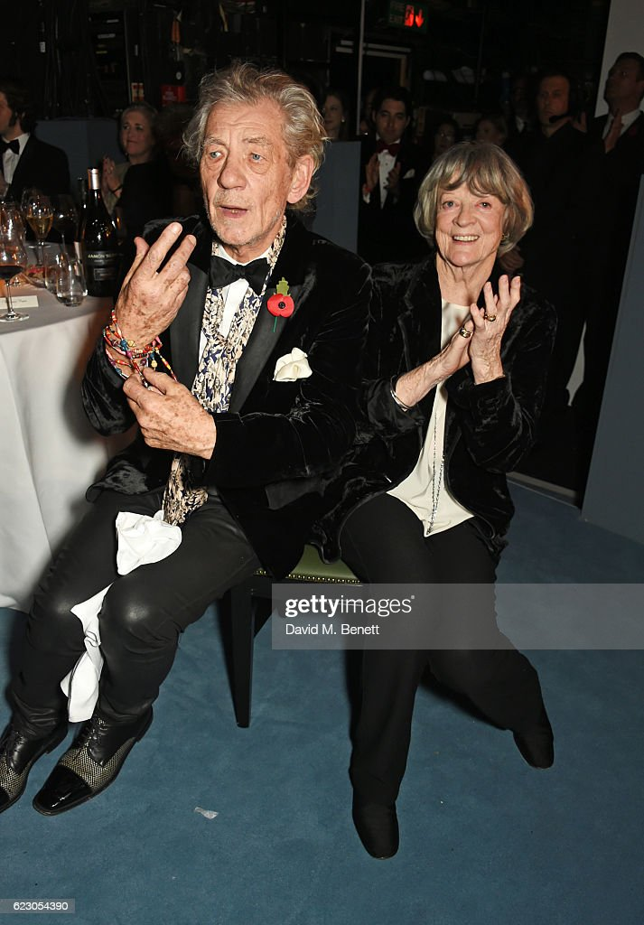 Sir Ian McKellen (L) and Dame Maggie Smith attend the 62nd London Evening Standard Theatre Awards, recognising excellence from across the world of theatre and beyond, at The Old Vic Theatre on November 13, 2016 in London, England.