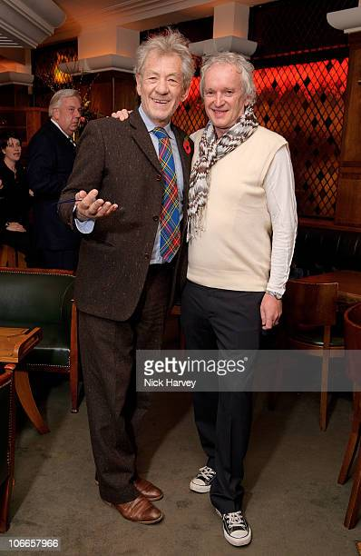 Sir Ian McKellen and director Sean Mathias attend the 20th anniversary of the famous restaurant at The Ivy on November 9 2010 in London England