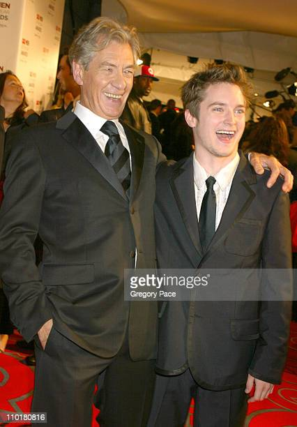 Sir Ian McKellen and Elijah Wood during 2002 GQ Men of the Year Awards at Hammerstein Ballroom in New York City New York United States