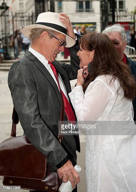 Sir Ian McKellen and Frances Barber attends the memorial service for British playwright Pam Gems at Saint James Church on July 3 2011 in London...