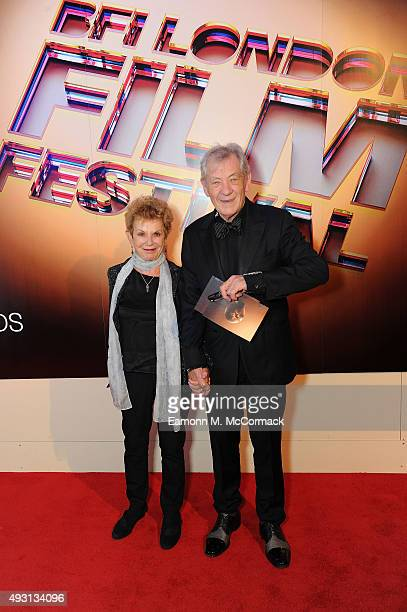 Sir Ian McKellen and guest arrive at Banqueting House for the BFI London Film Festival Awards on October 17 2015 in London England