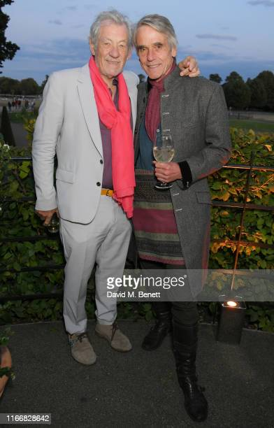 Sir Ian McKellen and Jeremy Irons attend the ATG Summer Party at Kensington Palace Gardens in celebration of Sir Ian McKellen on September 8 2019 in...