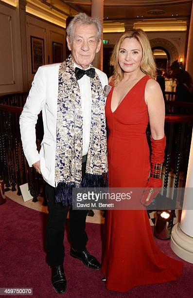 Sir Ian McKellen and Kim Cattrall attend a champagne reception at the 60th London Evening Standard Theatre Awards at the London Palladium on November...