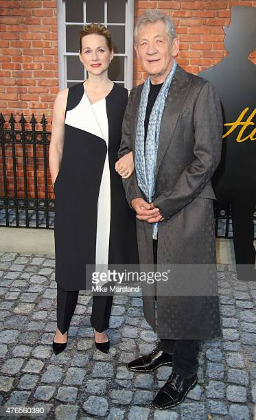 Sir Ian Mckellen and Laura Linney attend the UK Premiere of 'Mr Holmes' at ODEON Kensington on June 10 2015 in London England