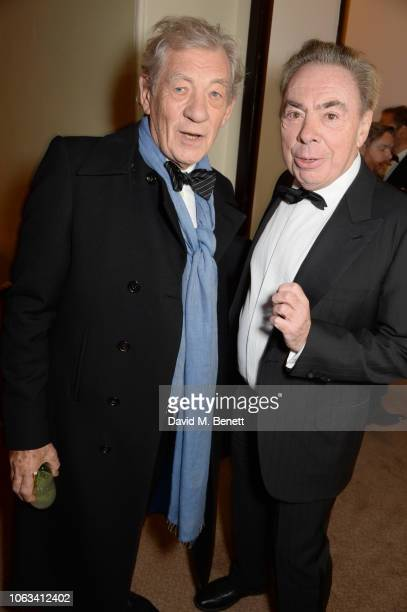 Sir Ian McKellen and Lord Andrew Lloyd Webber attend The 64th Evening Standard Theatre Awards at the Theatre Royal Drury Lane on November 18 2018 in...