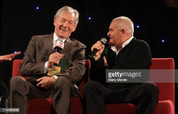 Sir Ian McKellen and Mark Hadlow are interviewed during the Rise Up Christchurch telethon appeal event at Te Papa on May 22 2011 in Wellington New...