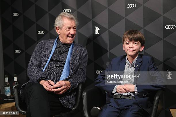 Sir Ian McKellen and Milo Parker attend a QA for the film 'Mr Holmes' during the 65th Berlinale International Film Festival at the AUDI Lounge on...