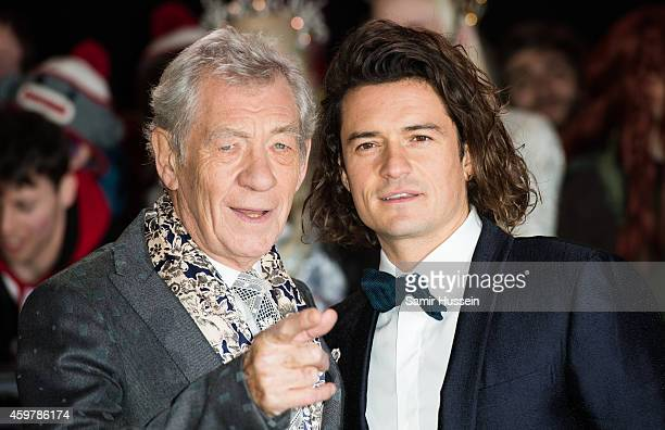 """Sir Ian McKellen and Orlando Bloom attend the World Premiere of """"The Hobbit: The Battle OF The Five Armies"""" at Odeon Leicester Square on December 1,..."""