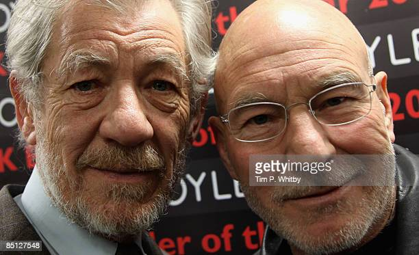 Sir Ian McKellen and Patrick Stewart pose for photos before reading from 'The Letters of Samuel Beckett' and discussing their roles in a production...
