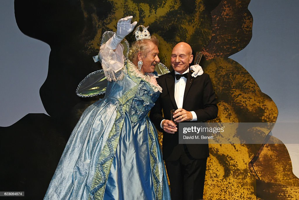 Sir Ian McKellen (L) and Sir Patrick Stewart attend the 62nd London Evening Standard Theatre Awards, recognising excellence from across the world of theatre and beyond, at The Old Vic Theatre on November 13, 2016 in London, England.