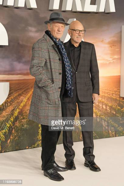 Sir Ian McKellen and Sir Patrick Stewart attend the European Premiere of Amazon Original Star Trek Picard at Odeon Luxe Leicester Square on January...