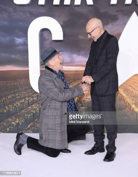 """Sir Ian McKellen and Sir Patrick Stewart attend the """"Star Trek Picard"""" UK Premiere at Odeon Luxe Leicester Square on January 15, 2020 in London,..."""