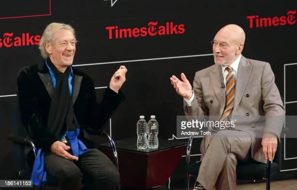 Sir Ian McKellen and Sir Patrick Stewart attend TimesTalks Presents An Evening With Sir Ian McKellen and Sir Patrick Stewart at Times Center on...