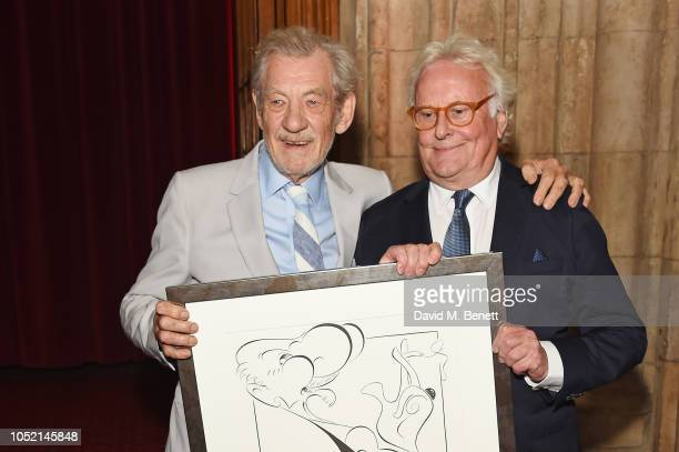 Sir Ian McKellen and Sir Richard Eyre attend The UK Theatre Awards 2018 at The Guildhall on October 14, 2018 in London, England.