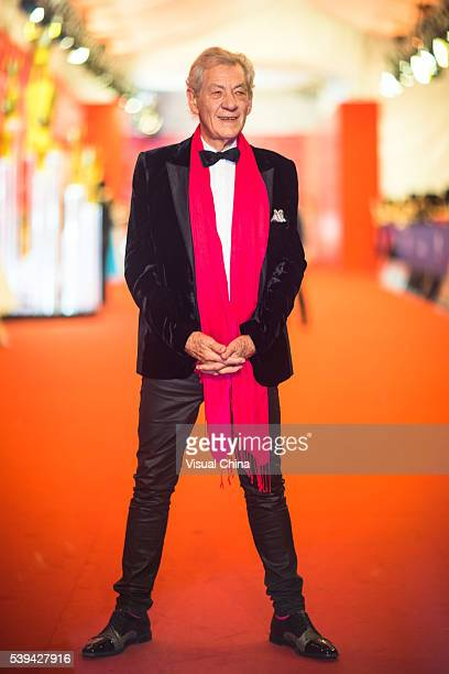 Sir Ian McKellen arrives for the red carpet of the 19th Shanghai International Film Festival at Shanghai Grand Theatre on June 11 2016 in Shanghai...