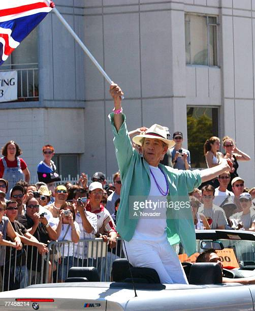 Sir Ian McKellen as Grand Marshal waves the UK flag as he leads the 32nd Annual San Francisco Gay Pride Parade