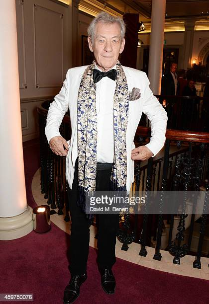 Sir Ian McKellen attends a champagne reception at the 60th London Evening Standard Theatre Awards at the London Palladium on November 30 2014 in...